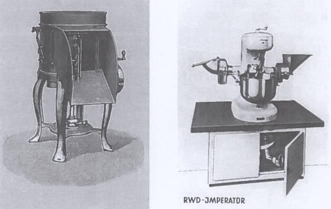 Die erste Kartoffelschälmaschine mit hydraulischem Antrieb wurde 1946 in Dietikon von der damaligen «Reppisch-Werke AG» erfunden. Bereits seit Ende des 19. Jahrhunderts tüftelten internationale Technologen an solchen Maschinen, um die mühsame Handarbeit zu rationalisieren. Die ersten Schälmaschinen waren aus Grauguss und sehr schwer. Die heutige Immobilien-Firma «RWD» stellte damals ebenfalls solche Maschinen in der eigenen Giesserei her. Dann brachten sie das deutlich leichtere Modell aus Aluminium auf den Markt. Der «RWD-Imperator» war nur halb so schwer, multifunktional und elektrifiziert.