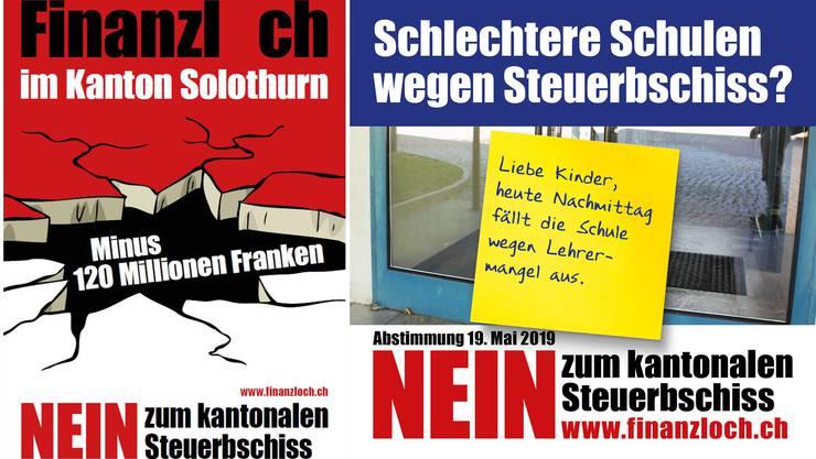 Die Nein-Kampagne warnt vor fehlendem Geld in Kantons- und Gemeindekassen. Die Steuersenkung ist hier der «Steuerbschiss».