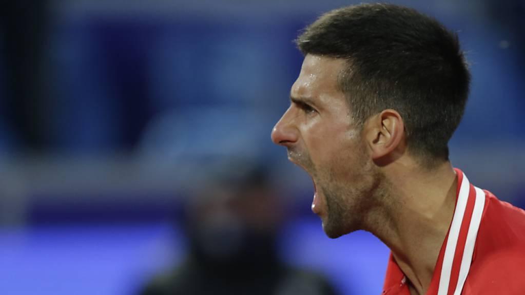 Novak Djokovic schreit sich den Frust vom Leib.