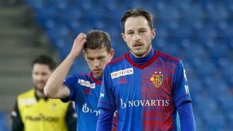 Fragen über Fragen: Luca Zuffi und Fabian Frei wissen auch nicht, warum sie YB heute nicht gewachsen waren.