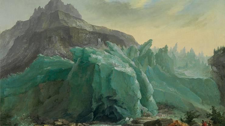 Sich auftürmende Eis- und Felsmassen: Caspar Wolfs Gemälde «Unterer Grindelwaldgletscher, Lütschine und Mettenberg», Öl auf Leinwand (53.5 x 81 cm)