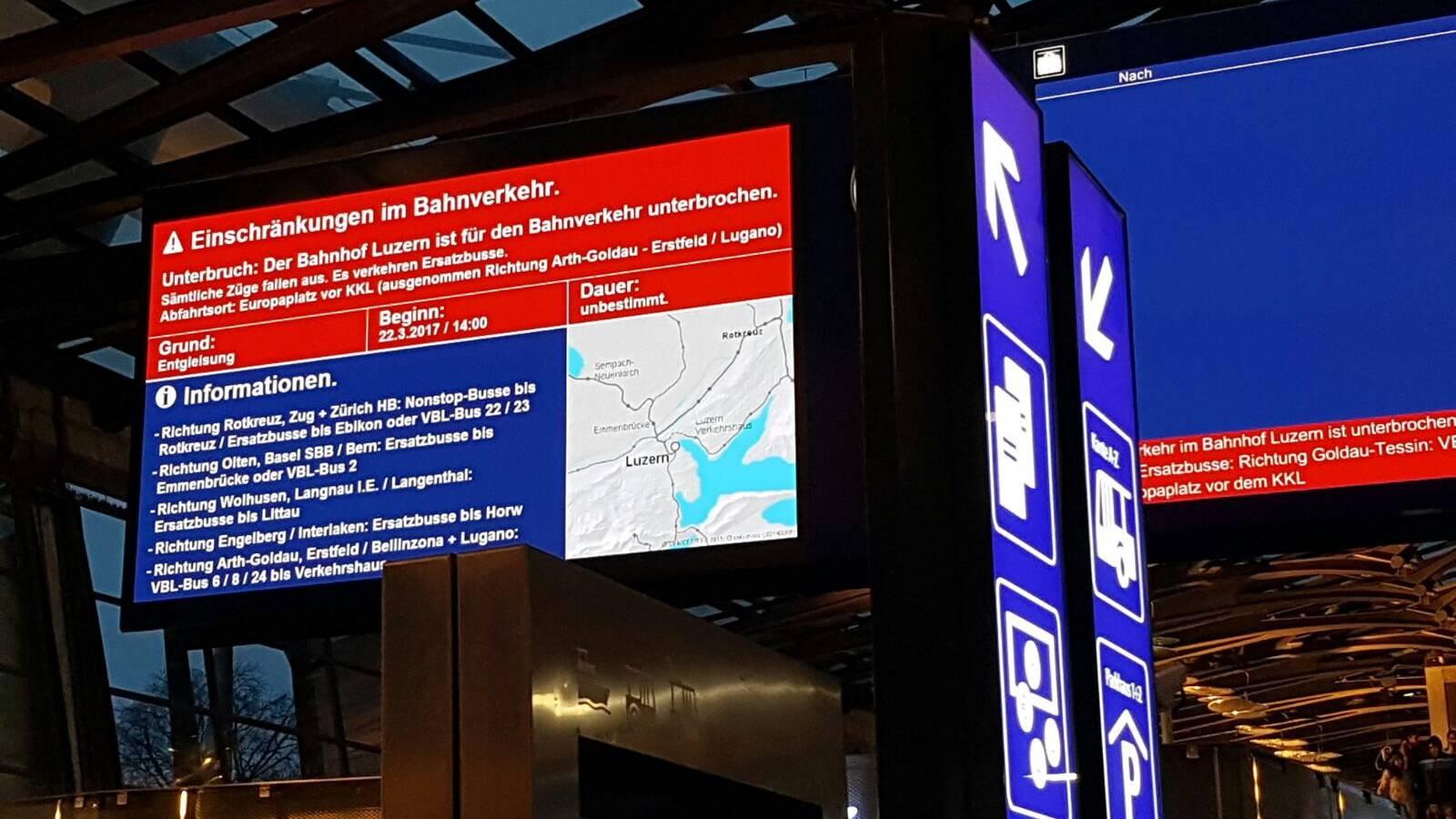 Technische Störung am Bahnhof Luzern