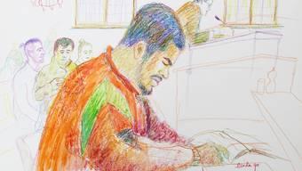 """So sah """"Carlos"""" die Gerichtszeichnerin vor dem Bezriksgericht Zürich."""