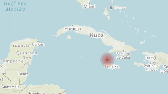 Das Epizentrum des Erdbebens kurz vor der Küste Jamaikas.