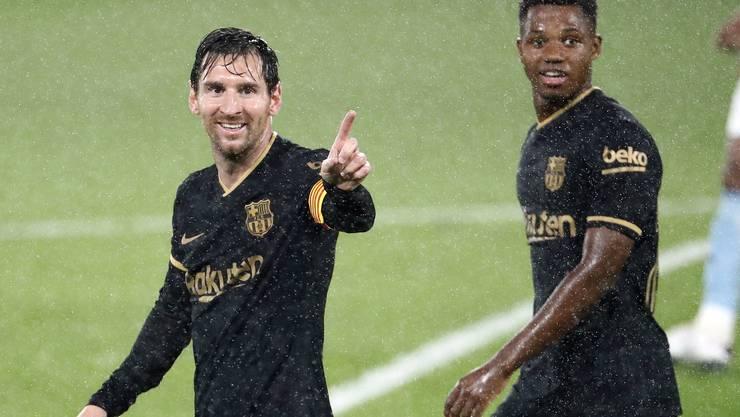 Der König und sein Nachfolger: Lionel Messi (links) und Ansu Fati im Trikot des FC Barcelona.