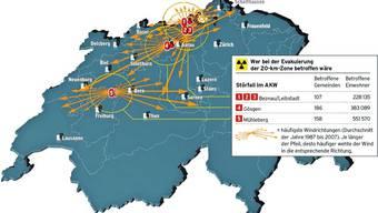 Auch der Bund hat eine 20-Kilometer-Gefahrenzone rund um die AKW festgelegt. Gefahr aber besteht auch ausserhalb.
