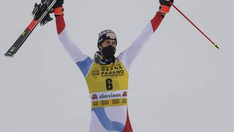 Ramon Zenhäusern feiert seinen zweiten Slalom-Weltcup-Sieg.