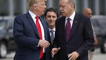 Der türkische Präsident Recep Tayyip Erdogan (rechts) warnt in Richtung US-Präsident Donald Trump (links) vor einem Ende der Partnerschaft zwischen den beiden Ländern. (Archivbild)
