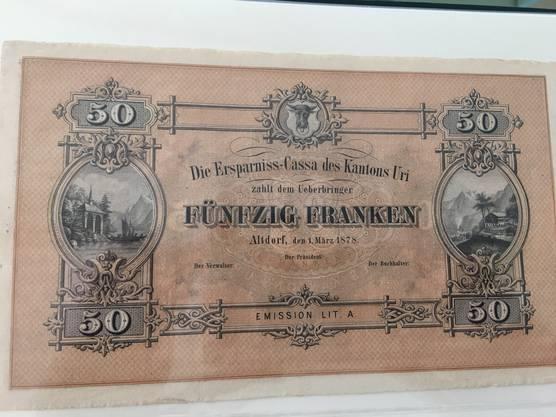 Die 50-Franken-Note aus dem Kanton Uri  von 1878 zeigt links Tells Kapelle und rechts das Rütli.