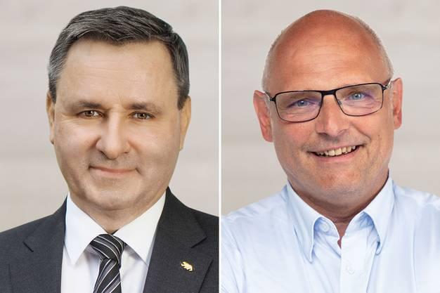 Ständerat Werner Salzmann und Nationalrat Alfred Heer (von links), zwei Kandidaten für das SVP-Präsidium.