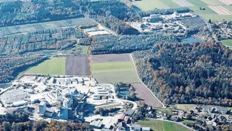 Entlang der gestrichelten Linie führt der Korridor vom Kieswerk Gunzgen (oben) zum Kieswerk Boningen.