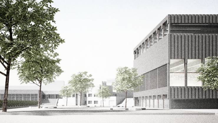 So soll das Schulgelände mit dem Erweiterungsbau dereinst aussehen. Entworfen wurde das Projekt Collana von Daniel Penzis Giuli Bettini Architekten aus Zürich.