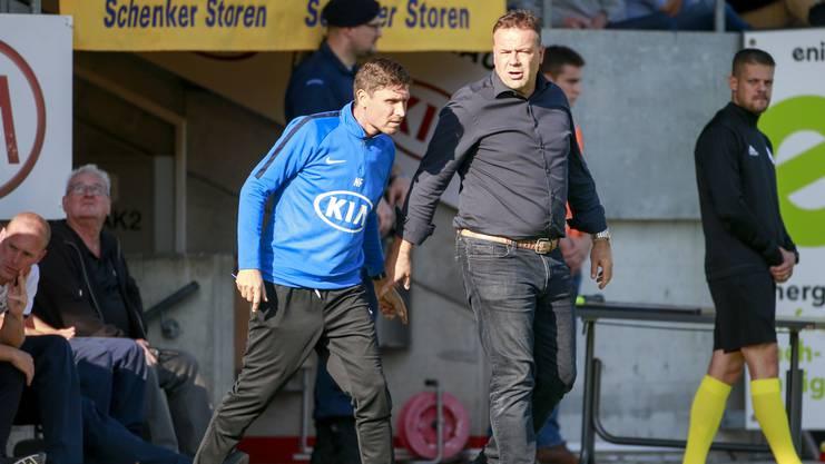 Cheftrainer Patrick Rahmen (rechts) schwärmt von der Arbeit seines Konditrainers Nobi Fischer (links)
