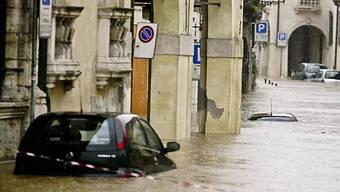 Vicenza in Norditalien unter Wasser