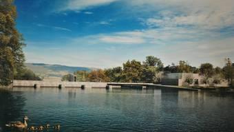 So soll sich das neue Kraftwerk Rüchlig dereinst vom Oberwasser her präsentieren. Axpo