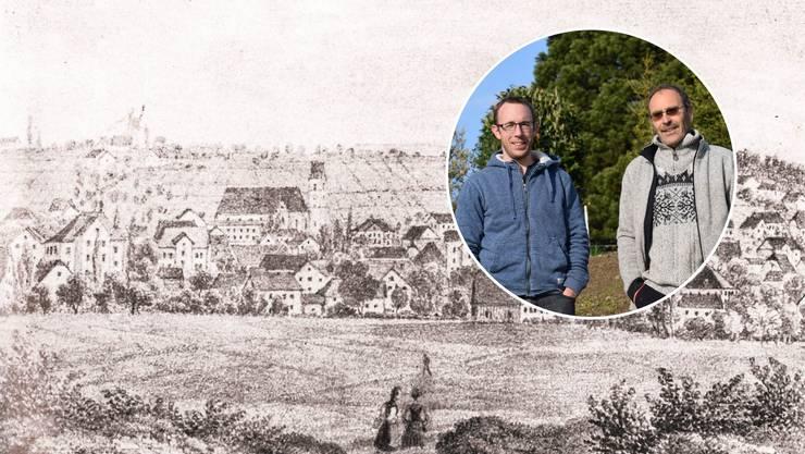Freizeitwinzer Hannes Bigler (links) und Stefan Weber werden für den neuen Rebberg im Rebebänkli verantwortlich sein. Im Bild: Wohlen im Jahr 1864, im Hintergrund der riesige Rebberg, der von der Niederwilerstrasse bis zum Rummel und dem Chaibler reichte.