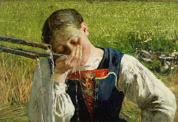 Giovanni Segantini, Bünderin am Brunnen, 1887, Öl auf Leinwand, 177 x 122 cm, Otto Fischbacher  Giovanni Segantini Stiftung / Segantini Museum, St. Moritz