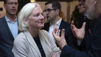 Die unterlegene Nadine Gautschi (FDP) nach der Bekanntgabe des Endresultats fuer die Regierungsrats-Ersatzwahl im Wahlforum in Basel, am Sonntag, 20. Oktober 2019. (KEYSTONE/Georgios Kefalas)