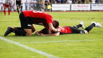 Die Erleichterung nach dem Last-Minute-Sieg gegen Amriswil war bei den Aarauern gross.