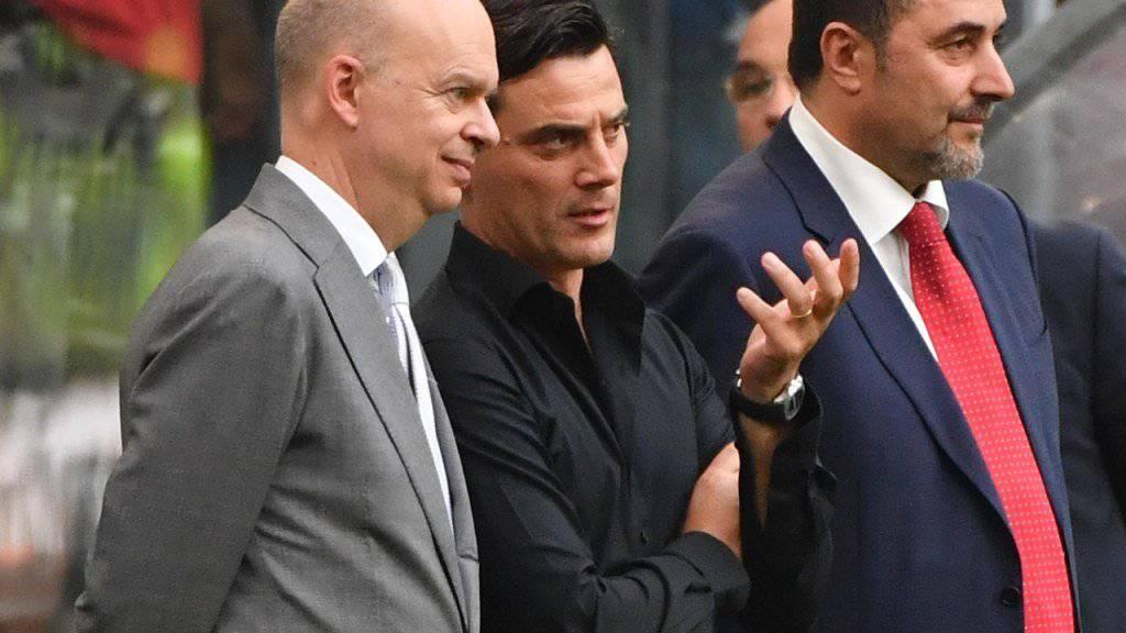 Marco Fassone (links), Vincenzo Montella (Mitte) und Max Mirabelli sollen Milan wieder an die Spitze führen