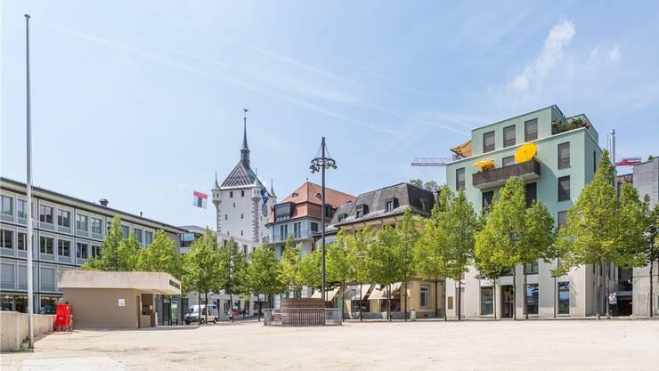 Am Badener Theaterplatz kam es am Freitagmorgen zu einem Brand. (Archiv)