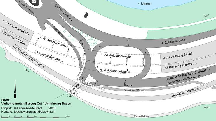 Der Umfahrungstunnel Baden endet erst unter der Autobahnausfahrt Neuenhof. Die vorhandenen Verkehrsanlagen können dort ergänzt, optimiert, der Schallschutz konzentriert verbessert werden.