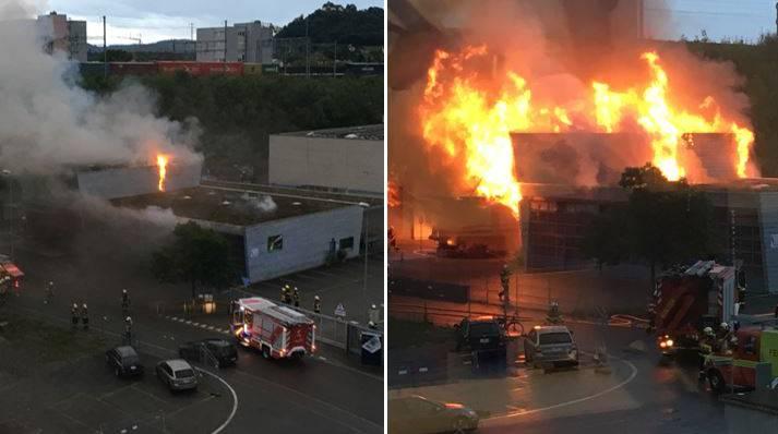 Brand im Forstwerkhof Lenzburg: Die Bilder wurden um 5.59 und um 6.04 Uhr gemacht.