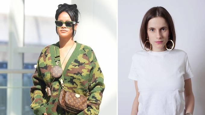 Sängerin Rihanna ist mit der Tasche «Multi Pochette Accessoires» mit dem khakifarbenen Tragriemen unterwegs. Laura Farinacci ist spezialisiert  auf Schuh- und Taschendesign.