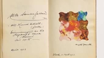 """Er hatte sein Atelier im gleichen Haus wie das """"Café Odeon"""": eine Farbstudie von Augusto Giacometti im versteigerten Gästebuch"""