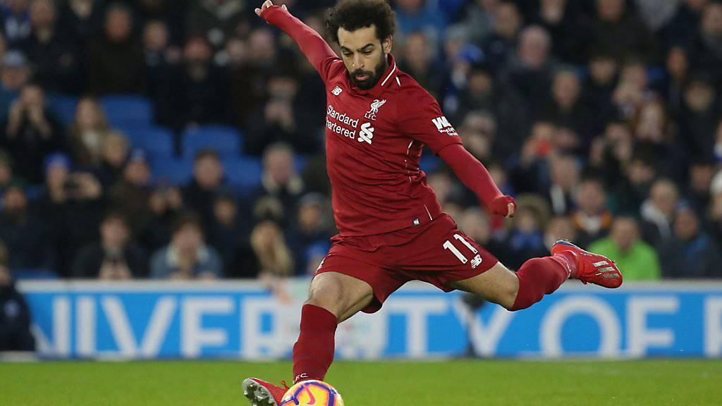 Mohamed Salah erzielt hier auf Foulpenalty Liverpools Siegestor