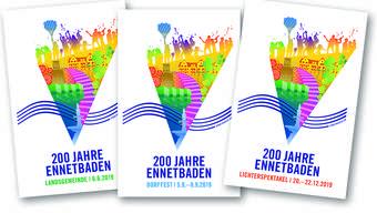 So präsentieren sich die drei Logos der Jubiläumsveranstaltungen in Ennetbaden nächstes Jahr.