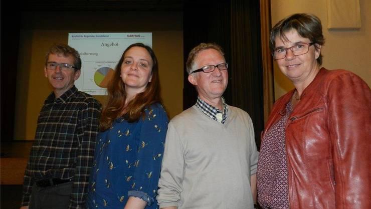 Hanspeter Stierli (links), Alessandra Schaefer, Martin Uhr und Regula Kuhn stellten den Sozialdienst vor. Jörg Baumann