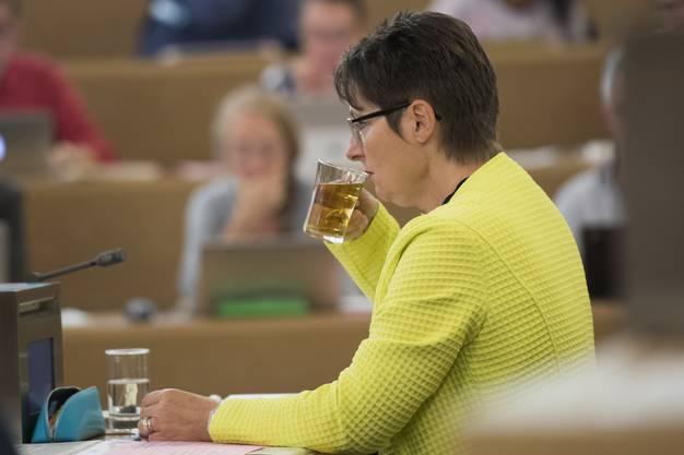 Regierungsrätin Franziska Roth, Vorsteherin Departement Gesundheit und Soziales (DGS)  während der Sitzung des Grossen Rates am 29. August 2017. GR Regierungsrat Grossrat, Grosser Rat.