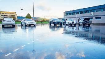 Zwischen 14 und 19 Uhr am Tag jeder Informationsveranstaltung besteht die Möglichkeit, Elektromobile zu erkunden (im Bild in Stein).