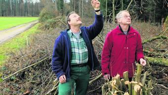 Projekt überzeugt: Förster Markus Bürki (links) und Burgergemeindepräsident Paul Lappert. (Bild: Hanspeter Bärtschi)