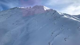 Der Lawinenniedergang im Gebiet Hohtälli oberhalb von Zermatt.