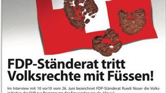 Angriff auf den Mann: Das SVP-Inserat gegen Ruedi Noser.