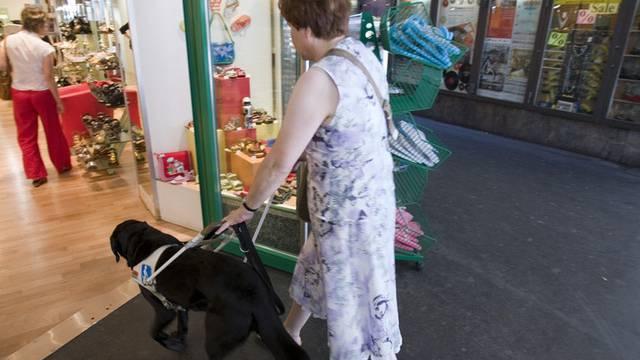 Eine blinde Frau ist mit ihrem Hund unterwegs (Archiv)