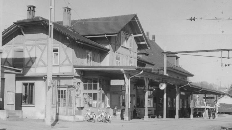 Der Bahnhof von Beinwil am See 4. März 1967