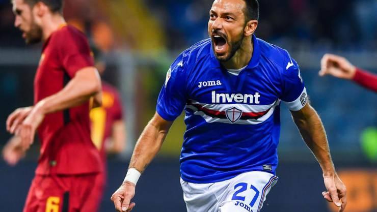 Fabio Quagliarella jubelt nach seinem Penaltytor gegen die AS Roma
