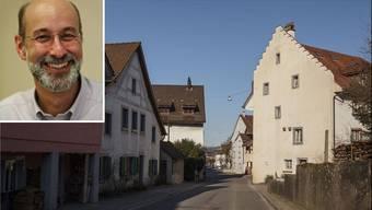 Im grossen Bild der Oberflecken, Teil des historischen Ortskerns von Bad Zurzach.