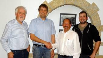 Wechsel im Vorstand vom Verein Eisen und Bergwerk: Geri Hirt, Stefan Schraner als neuer Präsident, der abtretende Präsident Peter Scheuble und Marco Jäger (v. l.).