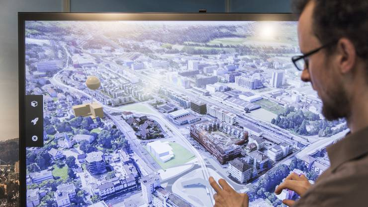 Schlieren ist im zehnten Städteranking des Wirtschaftsmagazins «Bilanz» auf dem 23. Rang. Im Bild der Schlieremer Ausschnitt des Limmatstadt-3D-Modells.