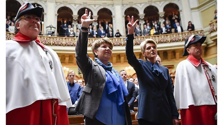 Im letzten Dezember wurden zwei Frauen in den Bundesrat gewählt. Für den Nationalrat ist eine Frauenquote überflüssig. (Archivbild)