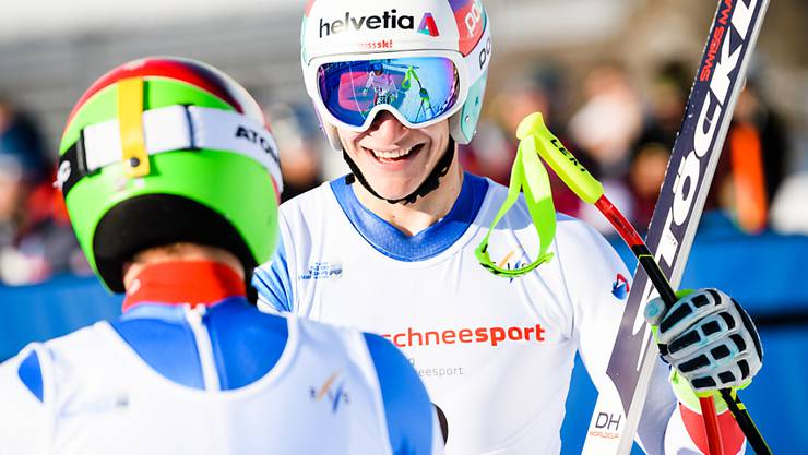 Dank den Teamkollegen: Abfahrts- und Super-G- Weltmeister Marco Odermatt jubelt auch im Teamwettkampf. (Bild JWSC Davos 2018/Manuel Lopez)