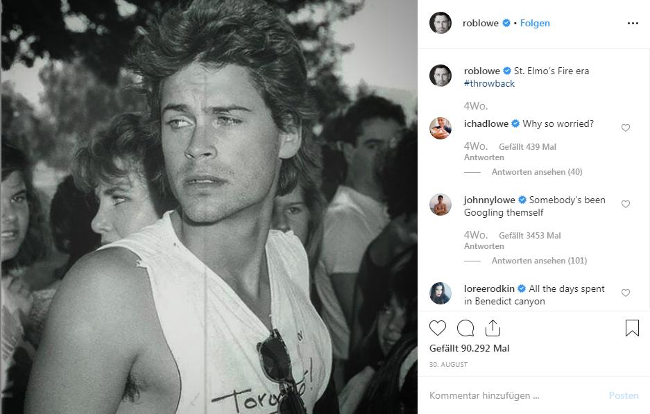 «Da hat jemand sich selber gegoogelt.» (© Instagram/Rob Lowe)