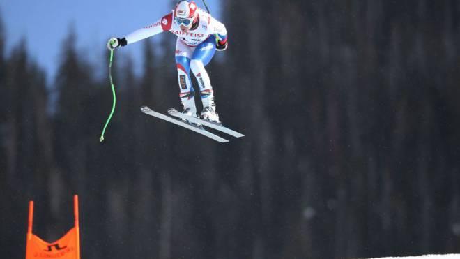 Patrick Küng fliegt zu Gold. Auf der schwierigen Piste «Birds of Prey» gelingt ihm die perfekte Fahrt. Foto: EQ Images