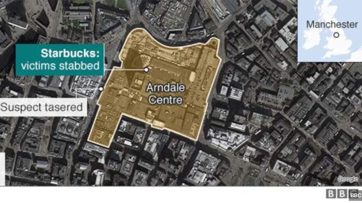 Manchester liegt im Nordwesten Englands. Das Arndale Einkaufszentrum befindet sich im Zetrum  der Stadt. (Bild und Montage: BBC)