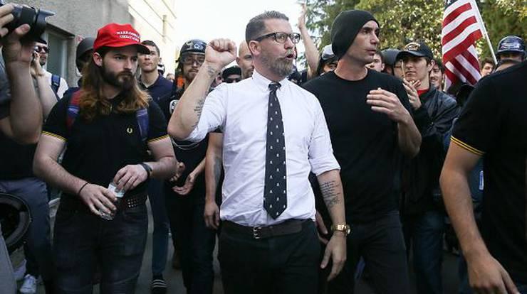 Gavin McInnes bei den Ausschreitungen in Berkeley.