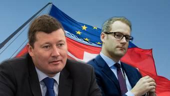 Junckers Kabinettchef Martin Selmayr (links) und Brüssels Schweiz-Verhandler Richards Szostak.